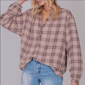 NWT Free People Northern bound plaid shirt